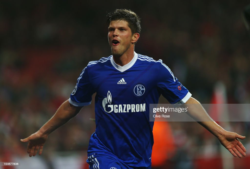 Klaas Jan Huntelaar of Schalke 04 celebrates against the Schalke 04 he scores their first goal during the UEFA Champions League Group B match between Arsenal and FC Schalke at the Emirates Stadium on October 24, 2012 in London, England.