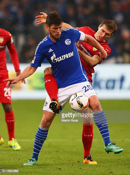 Klaas Jan Huntelaar of Schalke battles with Christian Gentner of Stuttgart during the Bundesliga match between FC Schalke 04 and VfB Stuttgart at...