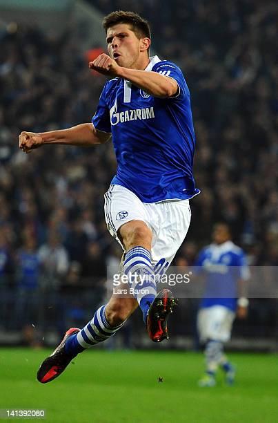 Klaas Jan Huntelaar of Schalke celebrates after scoring his teams second goal during the UEFA Europa League Round of 16 second leg match between FC...
