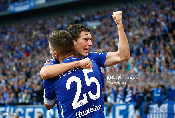 Klaas Jan Huntelaar of Schalke celebrates scoring the 21 with Leon Goretzka of Schalke during the Bundesliga match between FC Schalke 04 and 1 FSV...