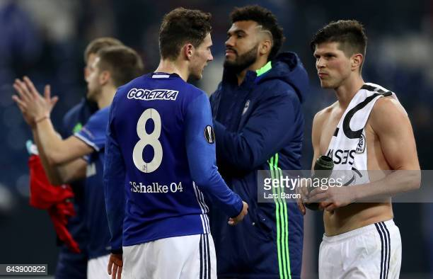 Klaas Jan Huntelaar of Schalke is seen after the UEFA Europa League Round of 32 second leg match between FC Schalke 04 and PAOK Saloniki at...