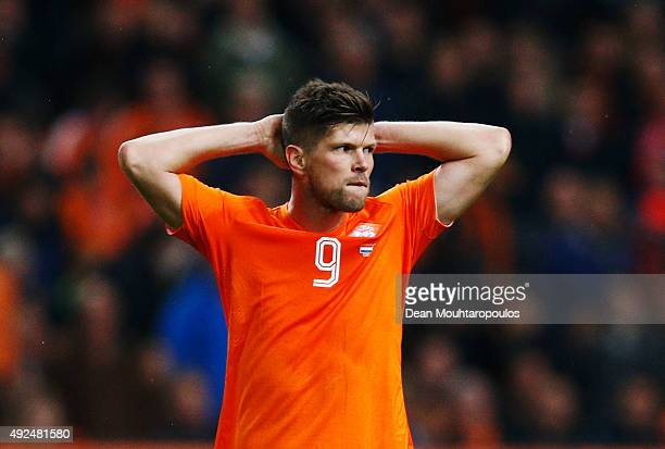 Klaas Jan Huntelaar of the Netherlands looks dejected during the UEFA EURO 2016 qualifying Group A match between the Netherlands and the Czech...