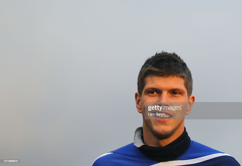 Klaas Jan Huntelaar smiles during a FC Schalke 04 training session ahead of the UEFA Champions League match against Olympique Lyon at Schalke 04 training ground on November 23, 2010 in Gelsenkirchen, Germany.