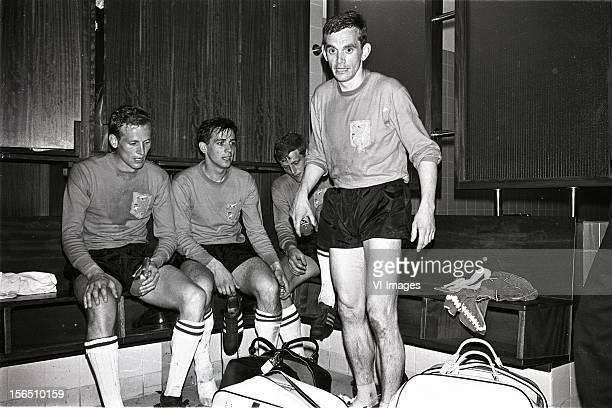 klaas nuninga Willy van der Kuijlen Piet Keizer miel pijs after the match between Scotland and Netherlands at Hampden Park on May 11 1966 at Glasgow...