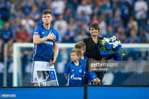 KlaasJan Huntelaar and his family react after a ceremony because of one of his last matches for Schalke 04 after the Bundesliga match between FC...