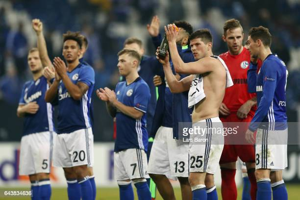 KlaasJan Huntelaar and team mates of Schalke celebrate with the fans after the UEFA Europa League Round of 32 second leg match between FC Schalke 04...