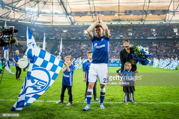 KlaasJan Huntelaar celebrates with fans and his family one of his last matches for Schalke 04 after the Bundesliga match between FC Schalke 04 and...