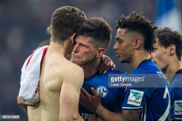 KlaasJan Huntelaar cries after one of his last matches for Schalke 04 after the Bundesliga match between FC Schalke 04 and Hamburger SV at...