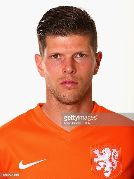 KlaasJan Huntelaar of Netherlands poses during the official FIFA World Cup 2014 portrait session on June 7 2014 in Rio de Janeiro Brazil