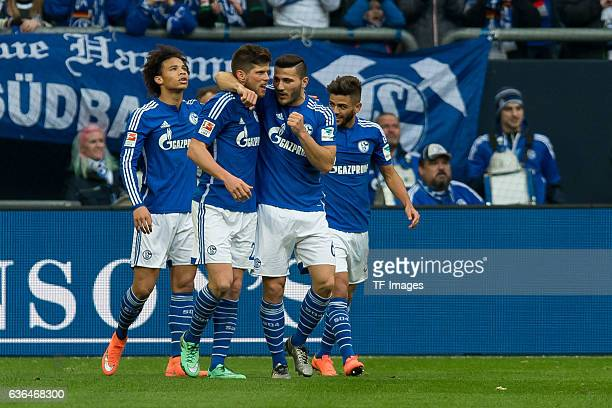 KlaasJan HUNTELAAR of Schalke 04 celebrates after scoring during the Bundesliga match between FC Schalke 04 and VfL Wolfsburg at VeltinsArena on...