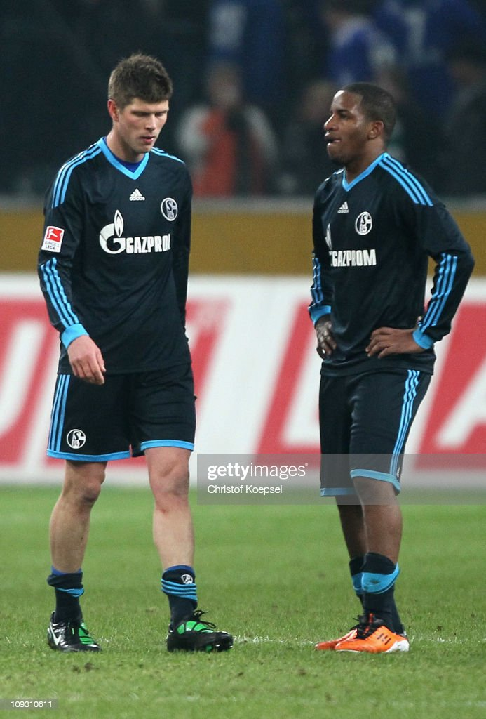 Klaas-Jan Huntelaar of Schalke and Jeffferson Farfan of Schalke look dejected after the Bundesliga match between Borussia Moenchengladbach and FC Schalke 04 at Borussia Park on February 20, 2011 in Moenchengladbach, Germany. The match between Gladbach and Schalke ended 2-1.