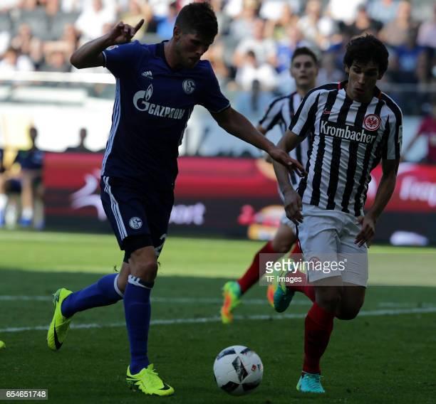 KlaasJan Huntelaar of Schalke and Jesus Vallejo of Frankfurt battle for the ball during the Bundesliga match between Eintracht Frankfurt and FC...