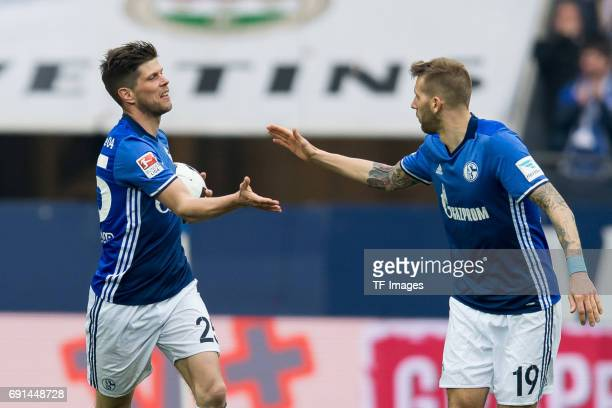 KlaasJan HUNTELAAR of Schalke celebrates after scoring his team`s first goal during the Bundesliga match between FC Schalke 04 and RB Leipzig at...