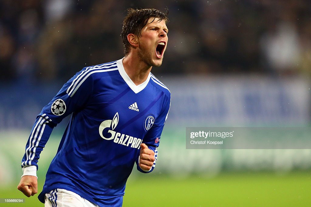 Klaas-Jan Huntelaar of Schalke celebrates the first goal during the UEFA Champions League group B match between FC Schalke 04 and Arsenal FC at Veltins Arena on November 6, 2012 in Gelsenkirchen, Germany.