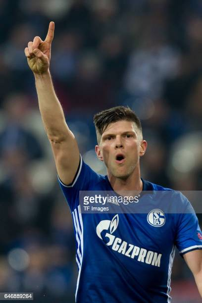 KlaasJan Huntelaar of Schalke gestures during the UEFA Europa League Round of 32 second leg match between FC Schalke 04 and PAOK Saloniki at...