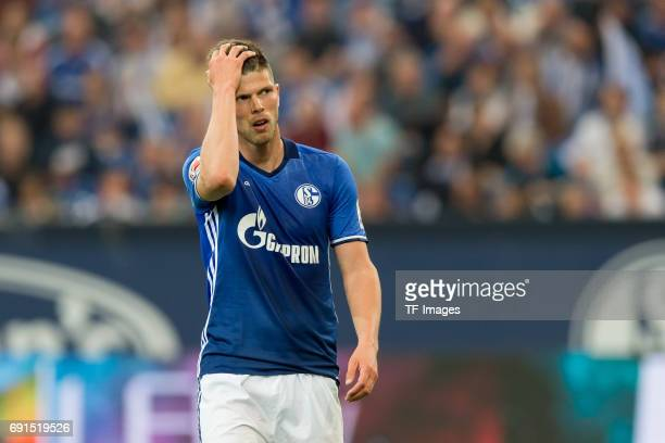 KlaasJan HUNTELAAR of Schalke gestures during to the Bundesliga match between FC Schalke 04 and Hamburger SV at VeltinsArena on May 13 2017 in...