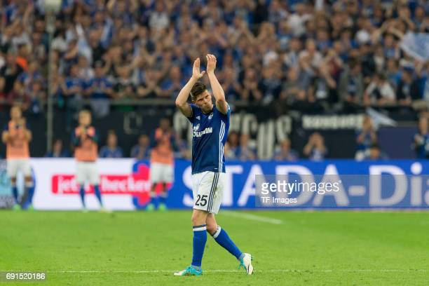 KlaasJan HUNTELAAR of Schalke goes from the place during to the Bundesliga match between FC Schalke 04 and Hamburger SV at VeltinsArena on May 13...