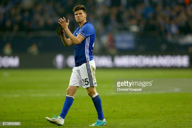 KlaasJan Huntelaar of Schalke looks dejected after quit the quarter final match inspite of winning 32 the UEFA Europa League quarter final second leg...