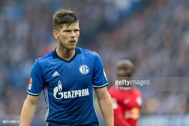 KlaasJan HUNTELAAR of Schalke looks on during the Bundesliga match between FC Schalke 04 and RB Leipzig at VeltinsArena on April 23 2017 in...