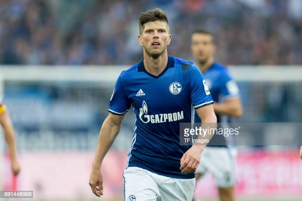 KlaasJan HUNTELAAR of Schalke looks on during the Bundesliga match between FC Schalke 04 and RB Leipzig at VeltinsArena on April 23 2017 in...