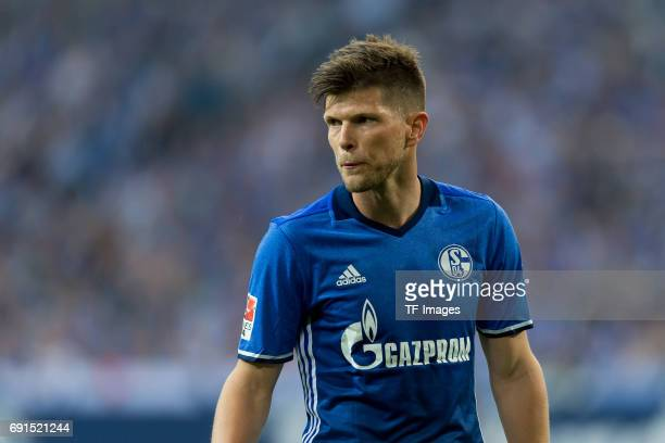 KlaasJan HUNTELAAR of Schalke looks on during to the Bundesliga match between FC Schalke 04 and Hamburger SV at VeltinsArena on May 13 2017 in...