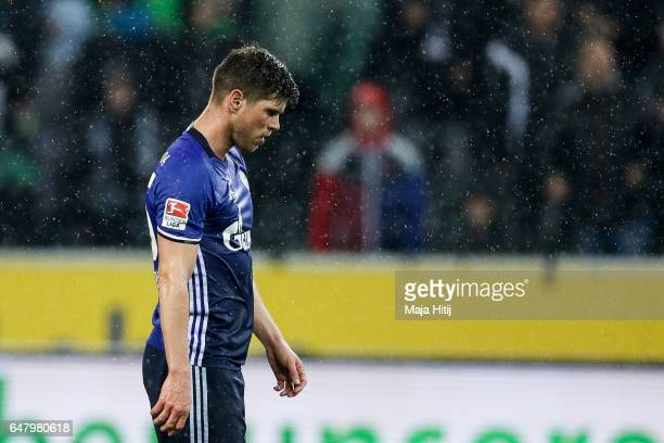 KlaasJan Huntelaar of Schalke react after the Bundesliga match between Borussia Moenchengladbach and FC Schalke 04 at BorussiaPark on March 4 2017 in...