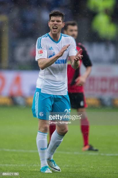 KlaasJan Huntelaar of Schalke reacts during the Bundesliga match between SC Freiburg and FC Schalke 04 at SchwarzwaldStadion on May 7 2017 in...