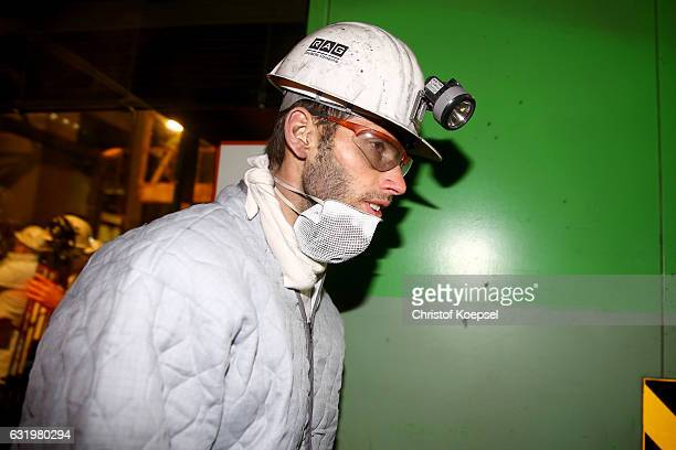 KlaasJan Huntelaar poses during a visit of FC Schalke 04 at Prosper Haniel Mine on January 18 2017 in Bottrop Germany