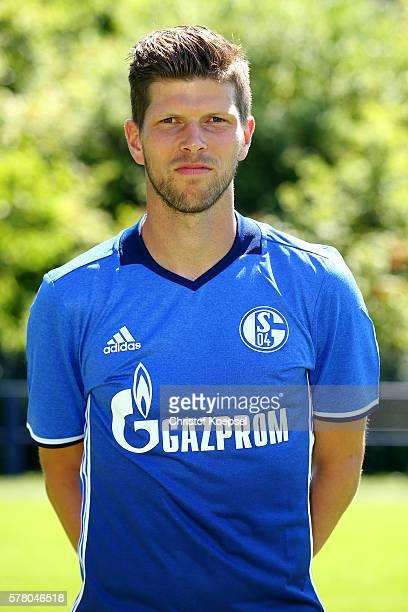 KlaasJan Huntelaar poses during the team presentation of FC Schalke at Veltins Arena on July 20 2016 in Gelsenkirchen Germany