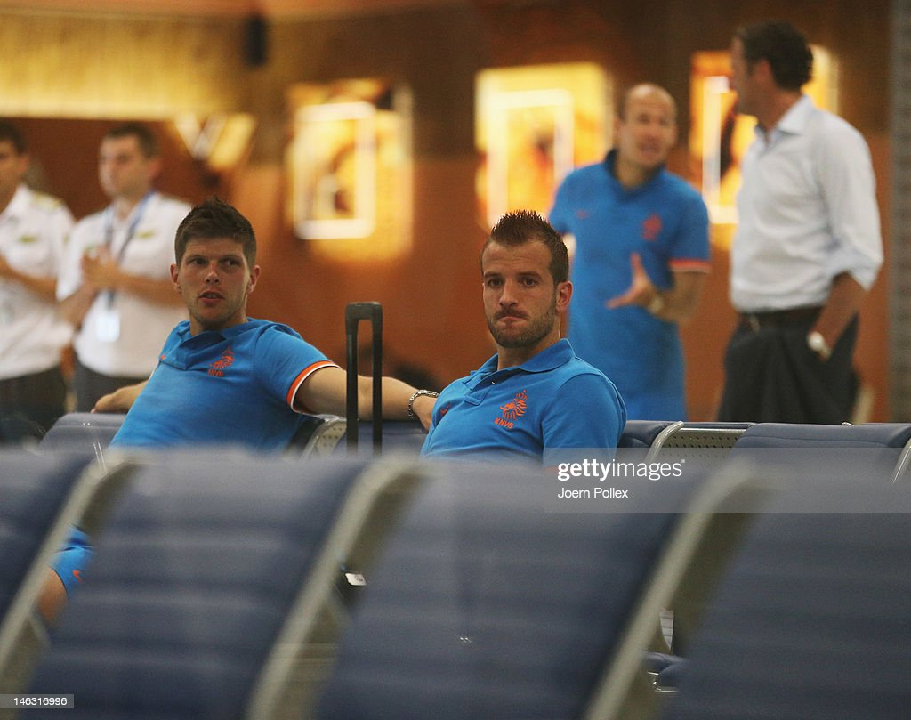 Klaas-Jan Huntelaar (L), Rafael van der Vaart (C) and Arjen Robben of Netherlands are seen in the depature area at Kharkov Airport after the UEFA EURO 2012 group B match between Netherlands and Germany at Metalist Stadium on June 14, 2012 in Kharkov, Ukraine.