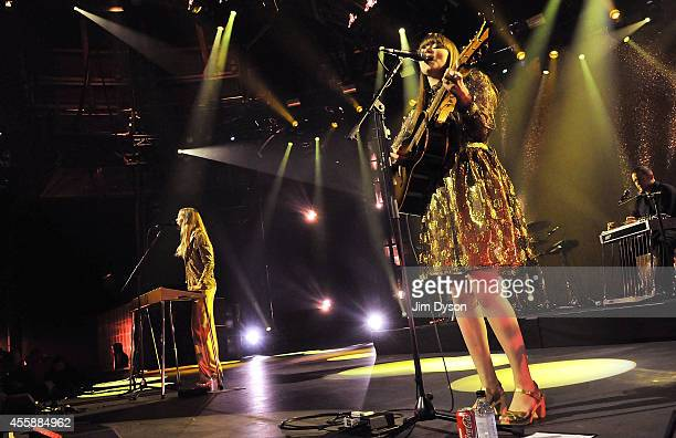 Klara and Johanna Soderberg of Swedish duo First Aid Kit perform live on stage as part of the iTunes Festival at The Roundhouse on September 21 2014...