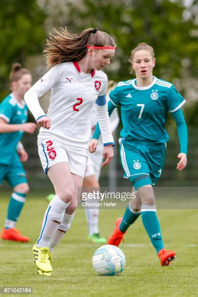 Klara Bazoutova of Czech Republic challenges Nicole Woldmann of Germany for the ball during the Under 15 girls international friendly match between...