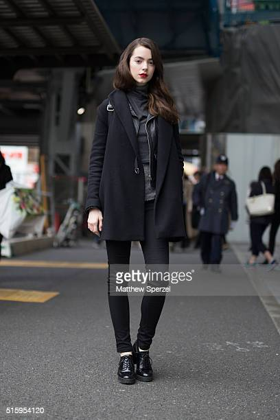 Klara Blanc model and photographer attends the Bennu show during Tokyo Fashion Week on March 16 2016 in Tokyo Japan