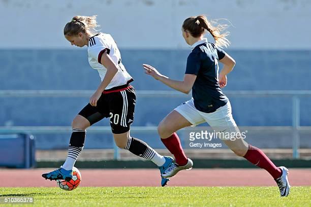 Klara Buhl of Germany callenges Emelie Saint Georges of France during the match of the U16 Girl's Germany v U16 Girl's France UEFA Tournament on...
