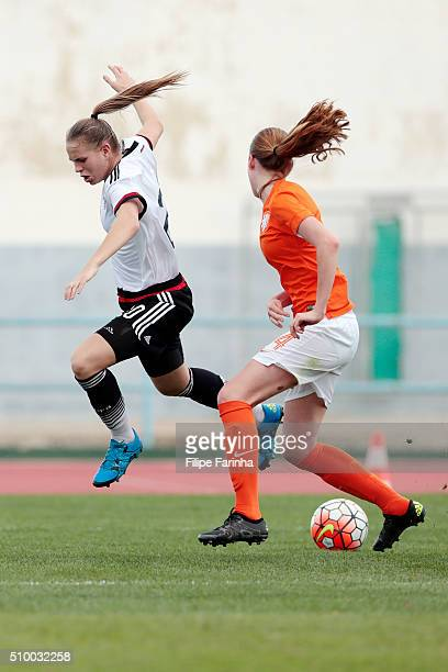 Klara Buhl of Germany callenges Lisa Doorn of Netherlands during the match of the U16 Girl's Netherlands v U16 Girl's Germany UEFA Tournament on...