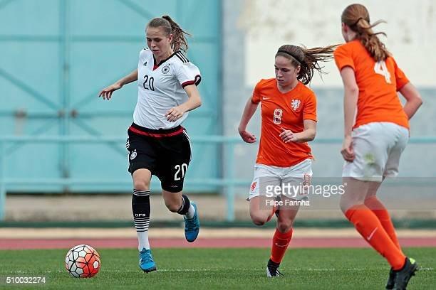 Klara Buhl of Germany callenges Marisa Olislagers of Netherlands during the match of the U16 Girl's Netherlands v U16 Girl's Germany UEFA Tournament...