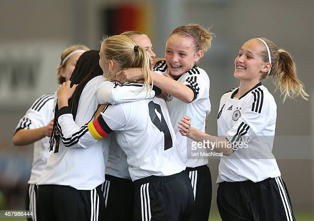 Klara Buhl of Germany celebrates scoring the opening goal during the International Challenge Match between Scotland Women's U16 and Germany Women's...