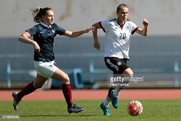 Klara Buhl of Germany challenges Emelie Saint Georges of France during the match of the U16 Girl's Germany v U16 Girl's France UEFA Tournament on...