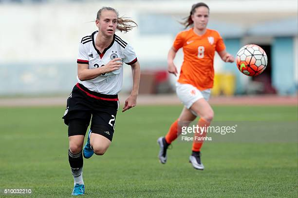 Klara Buhl of Germany during the match of the U16 Girl's Netherlands v U16 Girl's Germany UEFA Tournament on February 11 2016 in Vila Real de Santo...