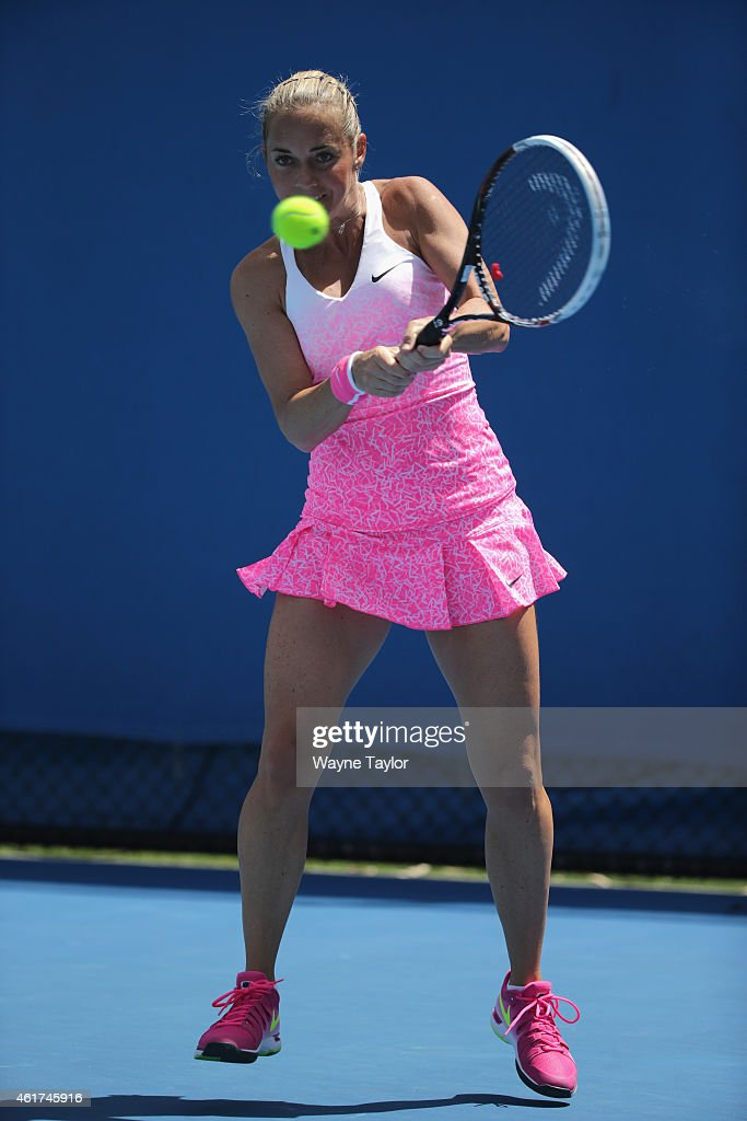 Klara Koukalova of the Czech Republic plays a backhand in her first round match against Storm Sanders of Australia during day one of the 2015 Australian Open at Melbourne Park on January 19, 2015 in Melbourne, Australia.