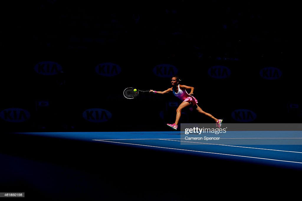 Klara Koukalova of the Czech Republic plays a forehand in her second round match against Julia Goerges of Germany during day three of the 2015 Australian Open at Melbourne Park on January 21, 2015 in Melbourne, Australia.