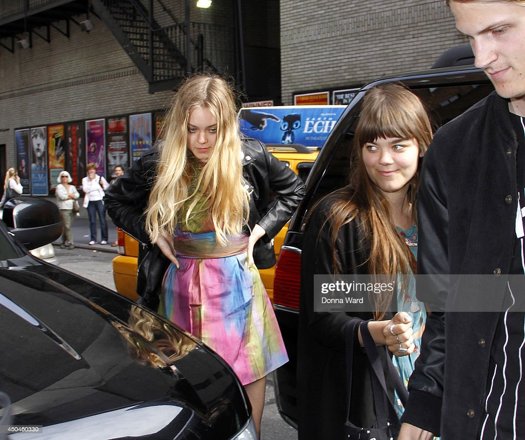 Klara Soderberg and Johanna Soderberg of First Aid Kit arrive for the 'Late Show with David Letterman' at Ed Sullivan Theater on June 11, 2014 in New York City.