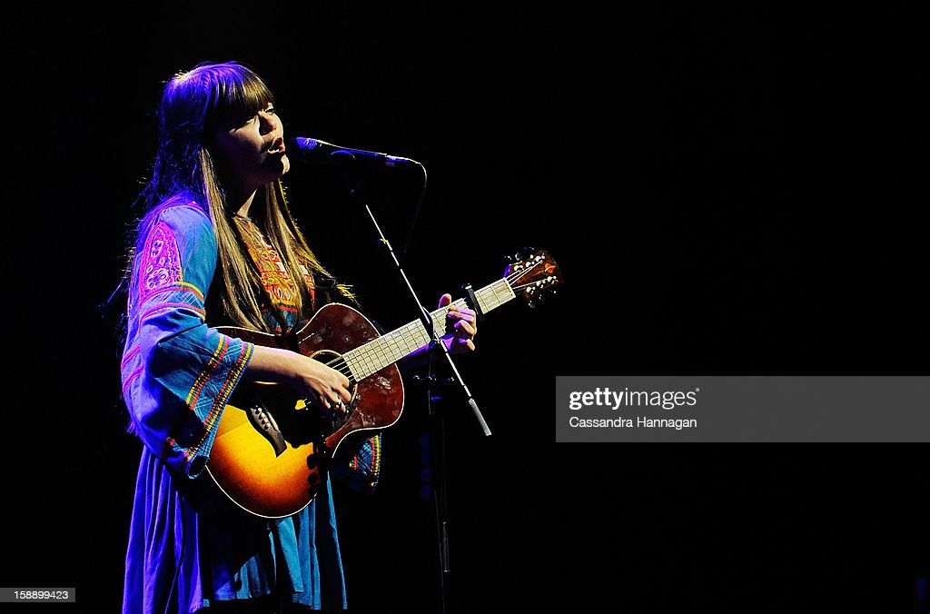 Klara Soderberg of Swedish folk duo First Aid Kit performs for fans at Sydney Opera House on January 3, 2013 in Sydney, Australia.