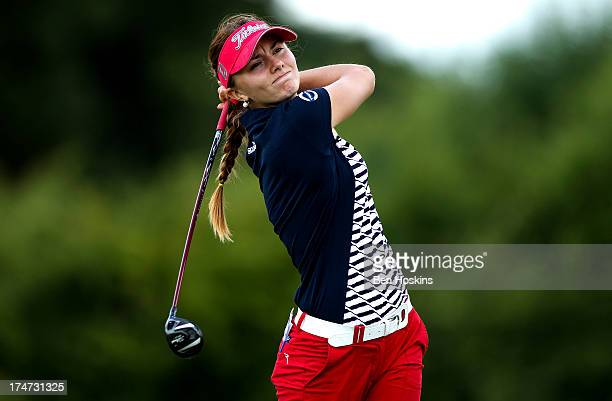 Klara Spilkova of Czech Republic hits her tee shot on the 6th hole during the ISPS Handa Ladies British Masters at Buckinghamshire Golf Club on July...