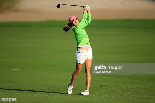 Klara Spilkova of Czech Republic plays her second shot at the par 5 10th hole during the first round of the 2015 Omega Dubai Ladies Masters on the...
