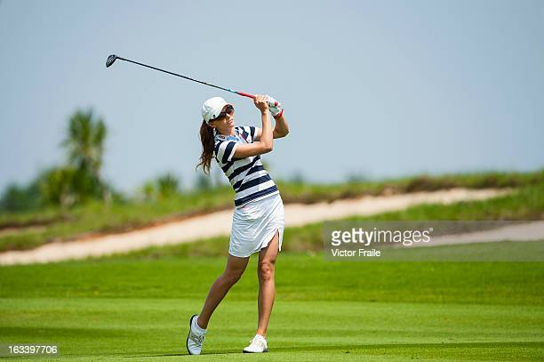 Klara Spilkova of Czech Republic plays her second shot on the 3rd hole at Mission Hills' Blackstone Course on March 9 2013 in Hainan Island China