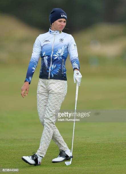 Klara Spilkova of Czech Republic plays her second shot to the 17th during the second day of the Aberdeen Asset Management Ladies Scottish Open at...