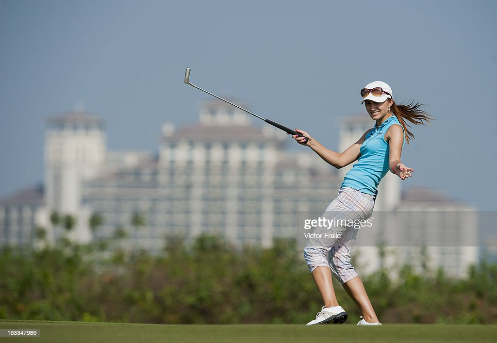 <a gi-track='captionPersonalityLinkClicked' href=/galleries/search?phrase=Klara+Spilkova&family=editorial&specificpeople=6155327 ng-click='$event.stopPropagation()'>Klara Spilkova</a> of Czech Republic reacts to her putt on the 14th green during day two of the Mission Hills World Ladies Championship at Mission Hills' Blackstone Course on March 8, 2013 in Hainan Island, China.