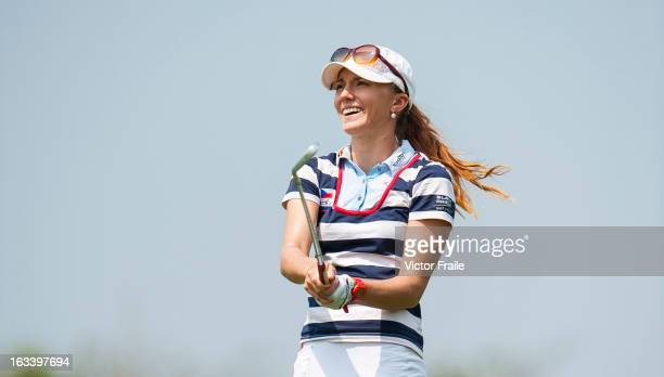 Klara Spilkova of Czech Republic tees off on the 5th hole at Mission Hills' Blackstone Course on March 9 2013 in Hainan Island China