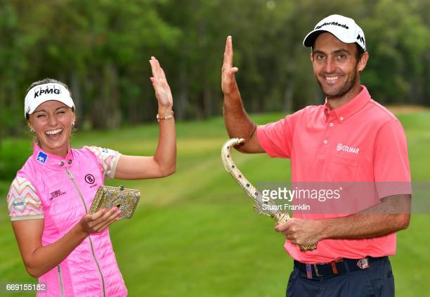 Klara Spilkova of The Czech Republic and Edourdo Molinari of Italy celebrate with each other after Eduoardo Molinari wins the Trophee Hassan II and...